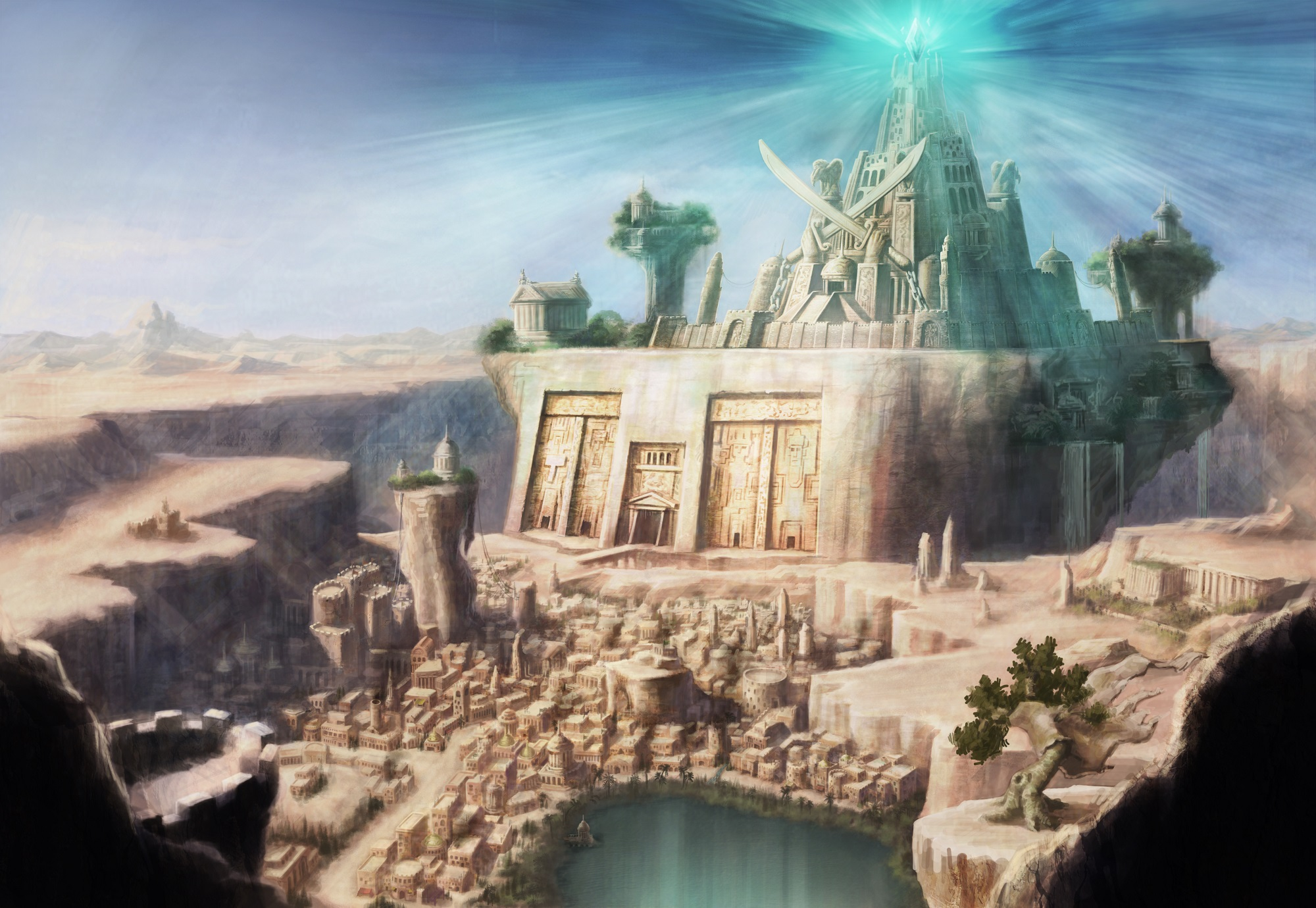 An artists rendering of a lost, mythological city. Shutterstock.