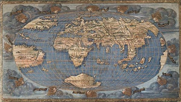 World Map oval by Francesco Rosselli, copper plate engraving on vellum, National Maritime Museum, 1508.