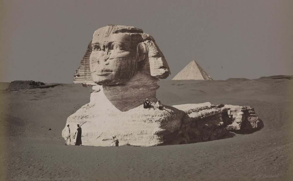 A rare image of the Great Sphinx buried beneath the sand. Shutterstock.