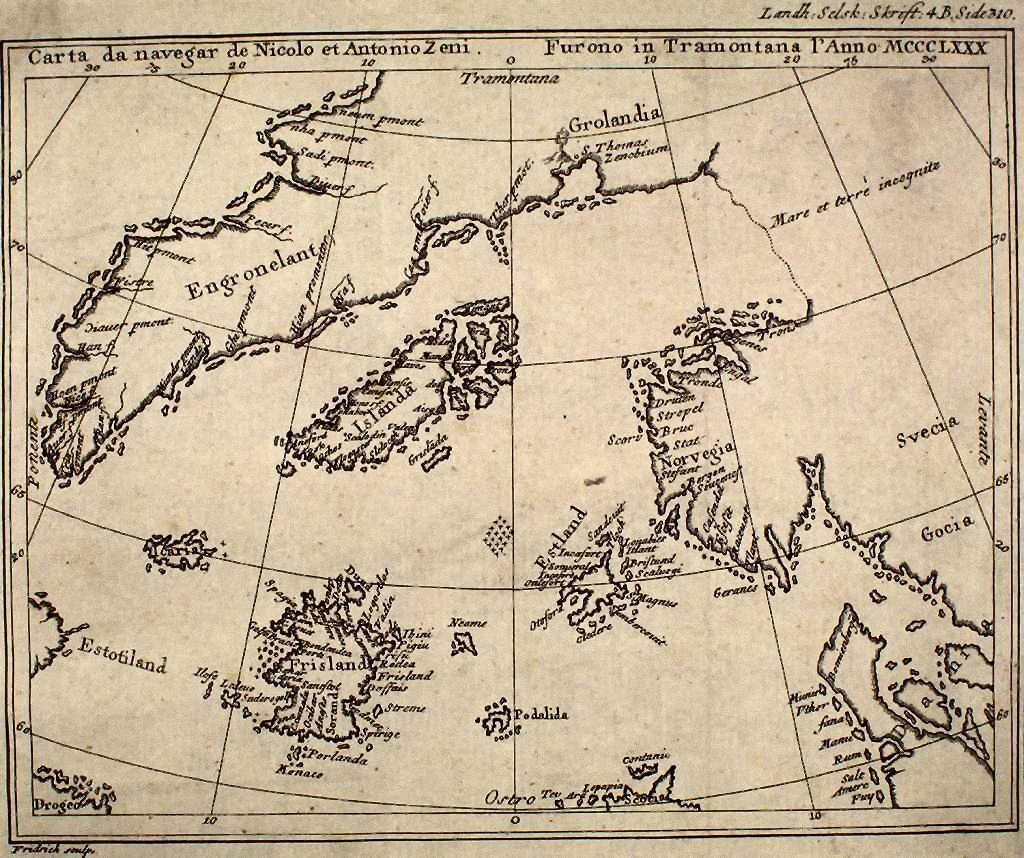 A reproduction of the Zeno map from a 1793 book. Source: Wikimedia Commons.