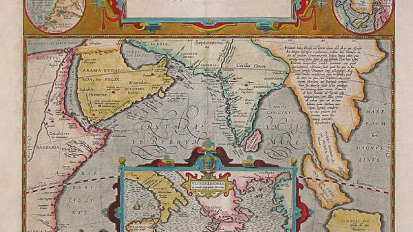 Periplus of the Erythraean Sea. Trading map from 1597.